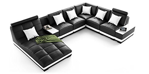 wohnlandschaft xxl leder schwarz wei milano teilleder u form ecksofa m bel24. Black Bedroom Furniture Sets. Home Design Ideas