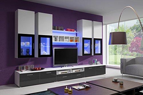 wohnwand elfanosi hochglanz mit led beleuchtung wei grau m bel24. Black Bedroom Furniture Sets. Home Design Ideas