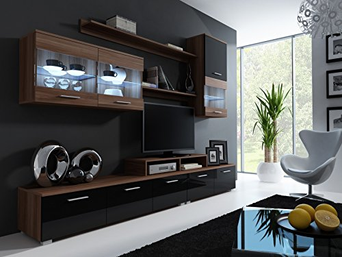 wohnwand logo ii mit led beleuchtung anbauwand wohnzimmer. Black Bedroom Furniture Sets. Home Design Ideas