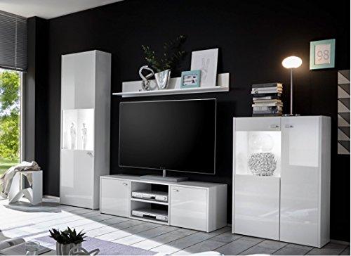 wohnwand wei hochglanz mit led beleuchtung st 6w ix st 4 teilig m bel24. Black Bedroom Furniture Sets. Home Design Ideas