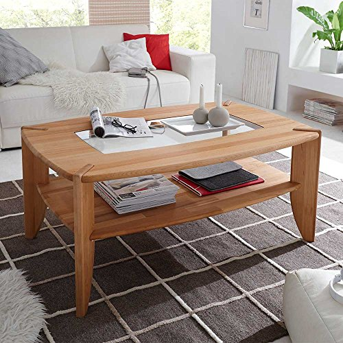 wohnzimmer couchtisch mit glaseinsatz kernbuche massivholz pharao24 m bel24. Black Bedroom Furniture Sets. Home Design Ideas