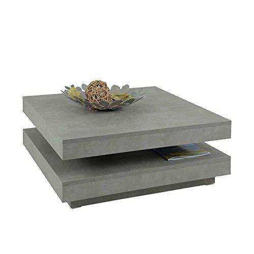wohnzimmer couchtisch mit drehbarer tischplatte beton grau. Black Bedroom Furniture Sets. Home Design Ideas