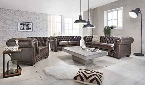 woodkings chesterfield sofa set 123 vintage echtleder. Black Bedroom Furniture Sets. Home Design Ideas