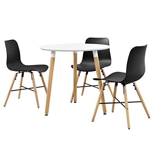 encasa-Esstisch-in-Wei-rund-80cm-mit-3-Design-Sthlen-schwarz-Sitzgruppe-in-Retro-Look-0