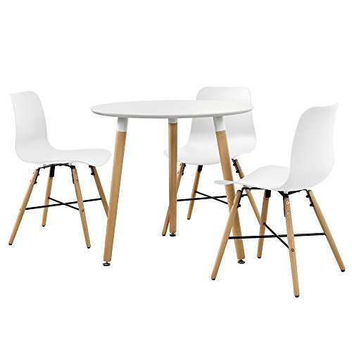 encasa-Esstisch-rund-80cm-mit-3-Design-Sthlen-Sitzgruppe-in-Retro-Look-Wei-0