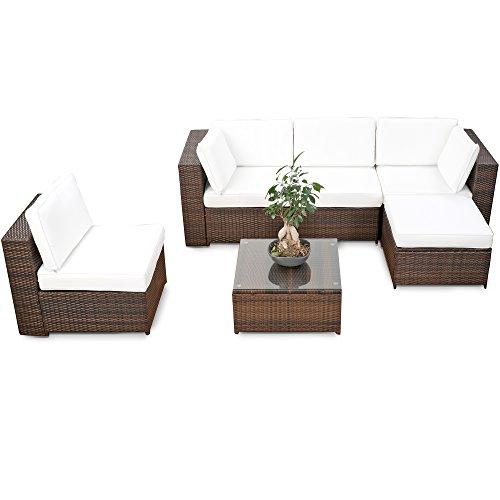 erweiterbares 18tlg xxl lounge set polyrattan braun. Black Bedroom Furniture Sets. Home Design Ideas