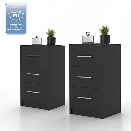 2x nachtkommode f r boxspringbett nachtschrank nachttisch kommode schrank schwarz m bel24. Black Bedroom Furniture Sets. Home Design Ideas