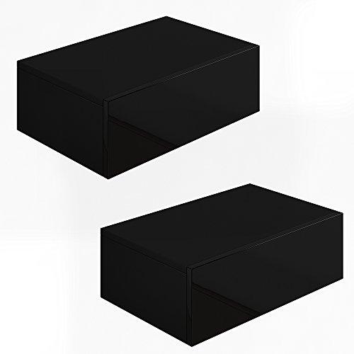2x nachttisch kommode nachtschrank schublade ablage for Schwarz hochglanz schrank