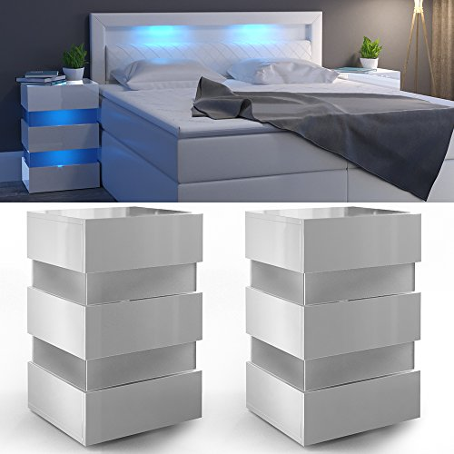 2x nachttisch set led 70cm hoch fr boxspringbett wei hochglanz nachtkommode nachtschrank kommode. Black Bedroom Furniture Sets. Home Design Ideas