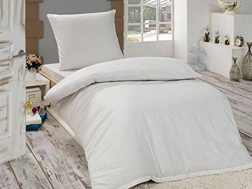 4 teilige hochwertige renforc bettw sche uni in weiss 2x 135x200 bettbezug 2x 80x80. Black Bedroom Furniture Sets. Home Design Ideas