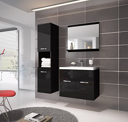 badezimmer badm bel montreal 60 cm waschbecken hochglanz schwarz fronten unterschrank. Black Bedroom Furniture Sets. Home Design Ideas