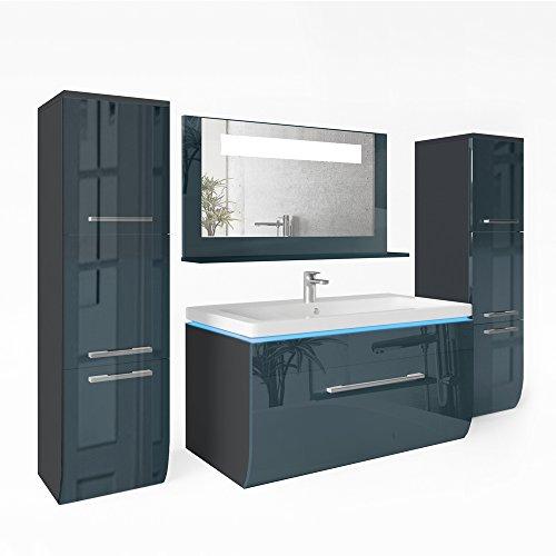 badm bel set 90cm anthrazit hochglanz badezimmer waschbecken spiegel led waschtisch. Black Bedroom Furniture Sets. Home Design Ideas