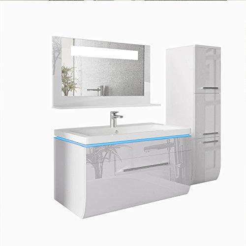 badmbel set 90cm led waschtisch led spiegel badschrank wei hochglanz vormontiert led blau. Black Bedroom Furniture Sets. Home Design Ideas