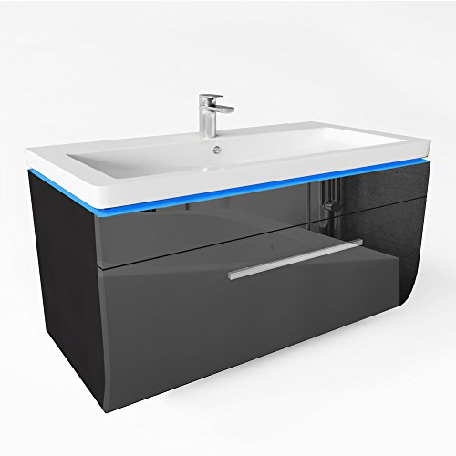 badm bel set 90cm led waschtisch led spiegel waschbecken. Black Bedroom Furniture Sets. Home Design Ideas