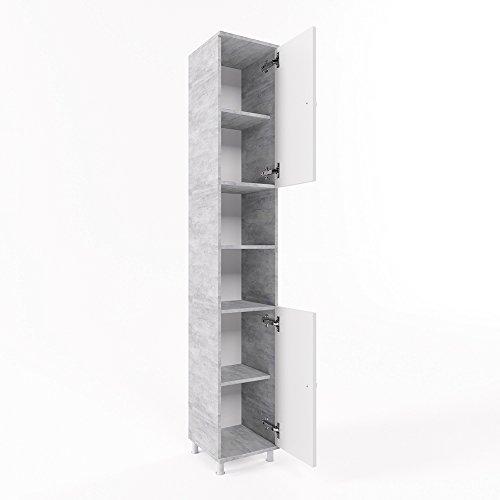 Badschrank fynn grau beton 190 cm badezimmerschrank hochschrank bad schrank badregal m bel24 - Badezimmerschrank grau ...