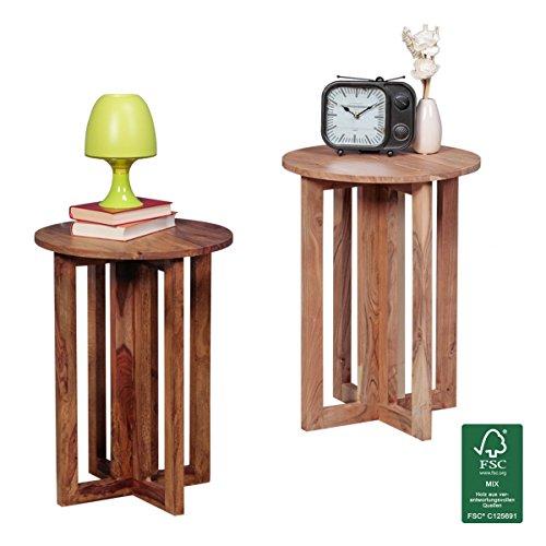finebuy beistelltisch massiv holz akazie wohnzimmer tisch. Black Bedroom Furniture Sets. Home Design Ideas