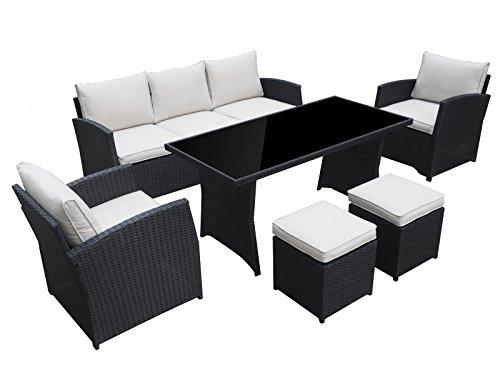 garten loungem bel havanna in schwarz gartenm bel essgruppe lounge aus polyrattan von jet line. Black Bedroom Furniture Sets. Home Design Ideas