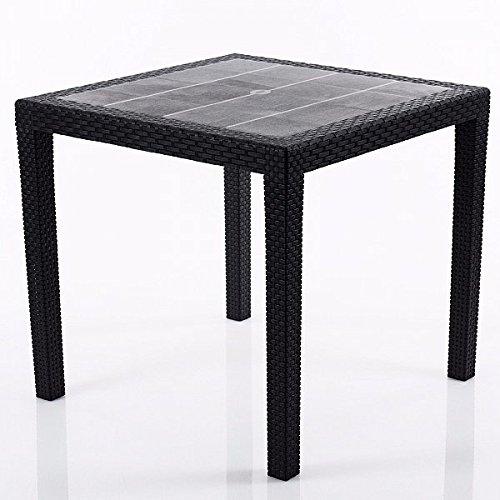 gartentisch rattan optik tisch schwarz 79 x 79 cm. Black Bedroom Furniture Sets. Home Design Ideas