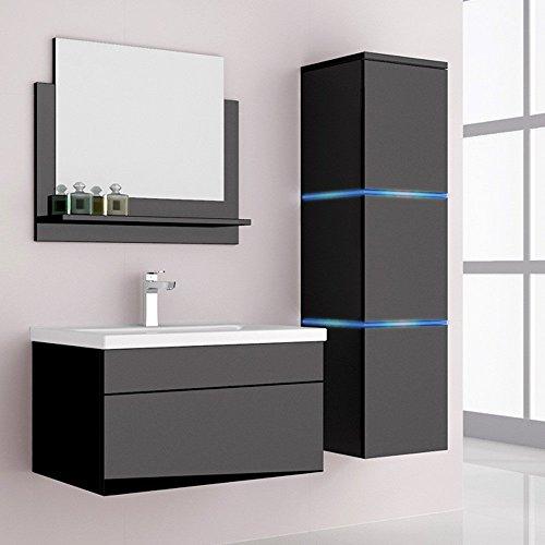 home deluxe badm bel set wangerooge schwarz inkl waschbecken und komplettem zubeh r. Black Bedroom Furniture Sets. Home Design Ideas