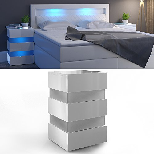 nachttisch led 70cm hoch f r boxspringbett wei hochglanz. Black Bedroom Furniture Sets. Home Design Ideas