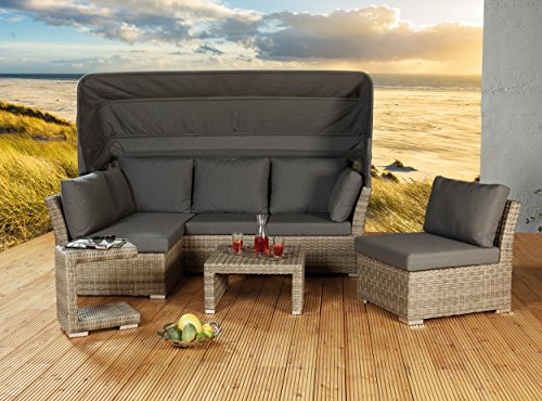 poly rattan strandkorb lounge set in braun perfekt f r. Black Bedroom Furniture Sets. Home Design Ideas