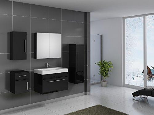 sam design badmbel set lunar 80 cm in hochglanz schwarz 5tlg designer badezimmer mit softclose. Black Bedroom Furniture Sets. Home Design Ideas