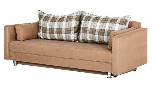 sam design schlafsofa karol sofa in beige ca 220 x 90 cm stoffbezug zwei r ckenkissen und zwei. Black Bedroom Furniture Sets. Home Design Ideas