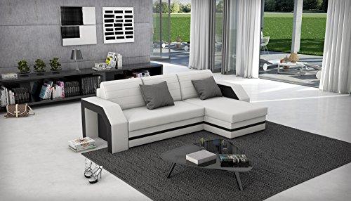 sam ecksofa acapulco wei schwarzes ecksofa 266 x 145 cm in futurisitschem design mit einer. Black Bedroom Furniture Sets. Home Design Ideas