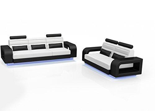 sam stilvolle sofa garnitur new york in schwarz wei bestehend aus 2 sitzer ca 215 cm 3 sitzer ca. Black Bedroom Furniture Sets. Home Design Ideas