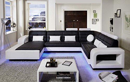sam wohnlandschaft new york mit led beleuchtung in der ausf hrung schwarz wei sitzfl che im. Black Bedroom Furniture Sets. Home Design Ideas