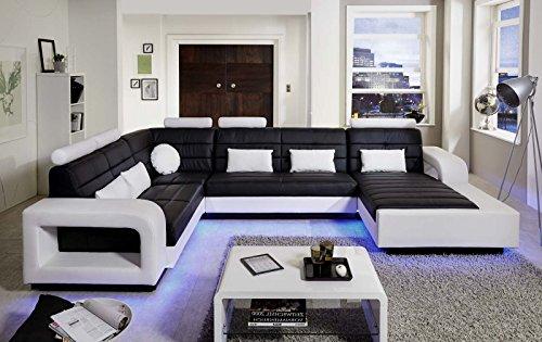 sam wohnlandschaft new york mit led beleuchtung in der ausfhrung schwarz wei sitzflche im. Black Bedroom Furniture Sets. Home Design Ideas