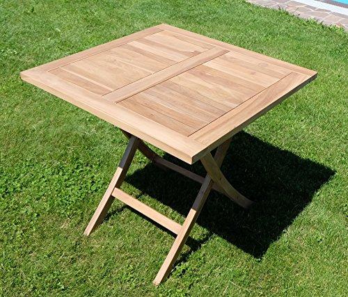 Teak klapptisch holztisch gartentisch garten tisch 80x80 for Holztisch garten