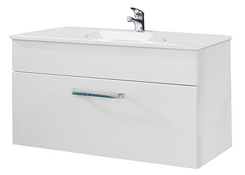 trendteam ado31501 h nge waschbeckenunterschrank inklusive waschbecken wei hochglanz bxhxt. Black Bedroom Furniture Sets. Home Design Ideas