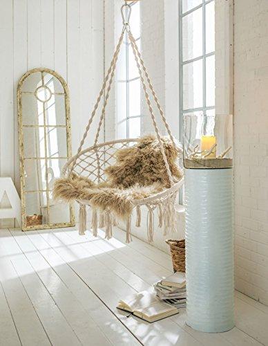 h ngesessel zum aufh ngen mit rundem sitzkissen inkl spreizstab wei beige. Black Bedroom Furniture Sets. Home Design Ideas