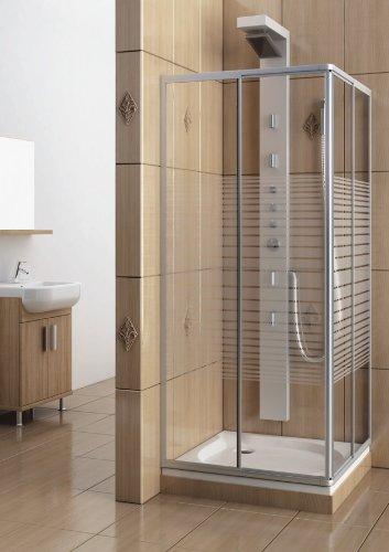 eckeinstieg duschkabine echtglas sicherheitsglas mit streifen silberne profile 75x75 75x80 75x90. Black Bedroom Furniture Sets. Home Design Ideas