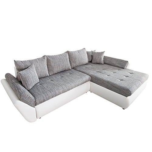 design ecksofa rodeo weiss strukturstoff grau mit schlaffunktion ot frei w hlbar m bel24. Black Bedroom Furniture Sets. Home Design Ideas