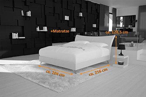 SAM® Design Boxspringbett Wild Grenada weiß mit 7-Zonen H2 Taschenfederkern-Matratze und Chrom-Füßen 180 x 200 cm 3
