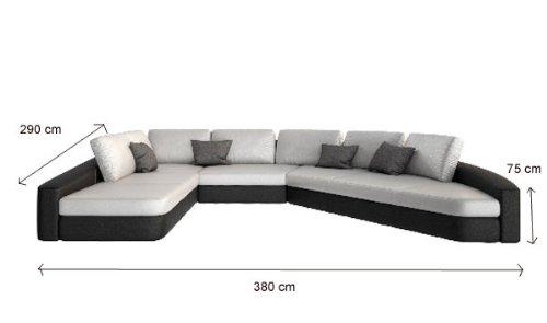 Sam sofa garnitur in wei schwarz domencia 290 x 380 cm for Wohnlandschaft 380 cm