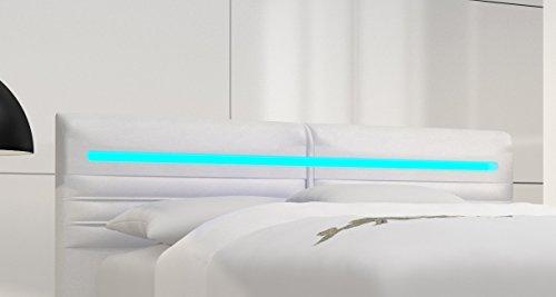 SAM® Design Boxspringbett Almeria Grenada weiß mit 7-Zonen H2 Taschenfederkern-Matratze, Chrom-Füßen und LED-Beleuchtung 180 x 200 cm 1
