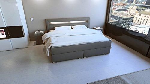 sam led boxspringbett 180x200 cm austin kunstleder grau bonellfederkern matratze h3 topper. Black Bedroom Furniture Sets. Home Design Ideas