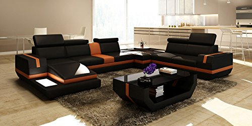 wohnlandschaft xxl leder schwarz orange york teilleder ledersofa polsterecke u form. Black Bedroom Furniture Sets. Home Design Ideas