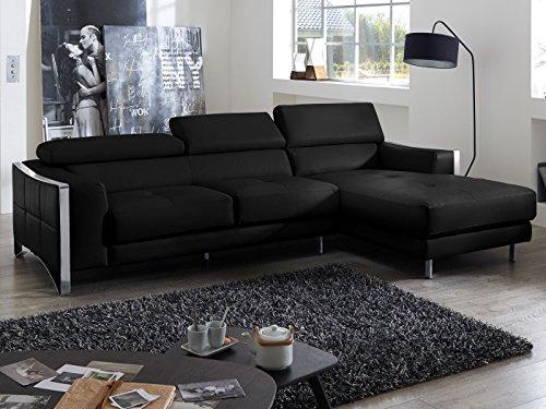 Ecksofa schwarz leder elsa wohnlandschaft couch chrom for Moebel24 shop