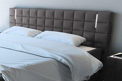 sam led boxspringbett 200x200 cm berlin stoff anthrazit nosagfederkern 7 zonen h3. Black Bedroom Furniture Sets. Home Design Ideas