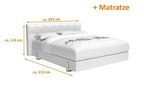 SAM® Design Boxspringbett Zadar Sole weiß mit 7-Zonen H2 Taschenfederkern-Matratze und Chrom-Füßen, 180 x 200 cm 3