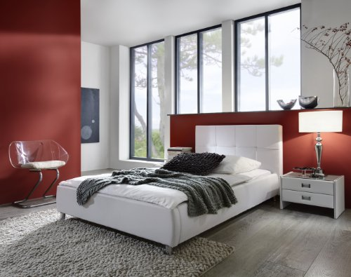 sam polsterbett 90x200 cm zarah wei pflegeleichtes design bett mit kunstlederbezug. Black Bedroom Furniture Sets. Home Design Ideas