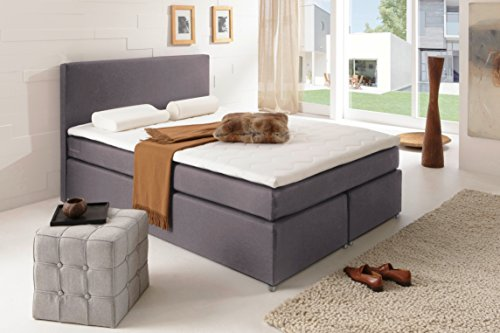 sam boxspringbett 140x200 cm carmen stoff grau nosag box h3 bonellfederkernmatratze 4 cm. Black Bedroom Furniture Sets. Home Design Ideas