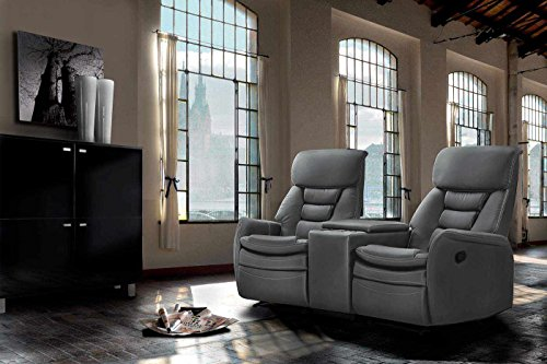 2 sitzer kinosessel kunstleder grau cinema relax sofa. Black Bedroom Furniture Sets. Home Design Ideas