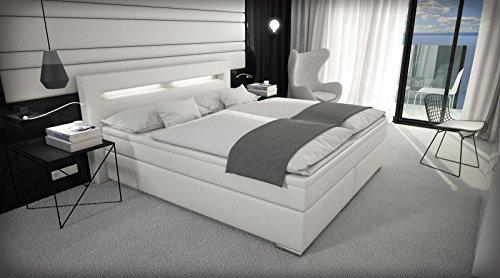 sam design boxspringbett sidney mit samolux bezug wei led bonellfederkern matratze box. Black Bedroom Furniture Sets. Home Design Ideas