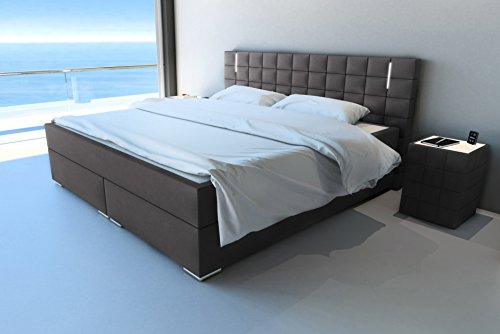 sam led boxspringbett 200x200 cm berlin stoff anthrazit nosagfederkern 7 zonen h3. Black Bedroom Furniture Sets. Home Design Ideas