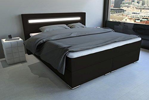 sam led boxspringbett 160x200 cm austin kunstleder dunkelbraun nosagfederkern 7 zonen h3. Black Bedroom Furniture Sets. Home Design Ideas